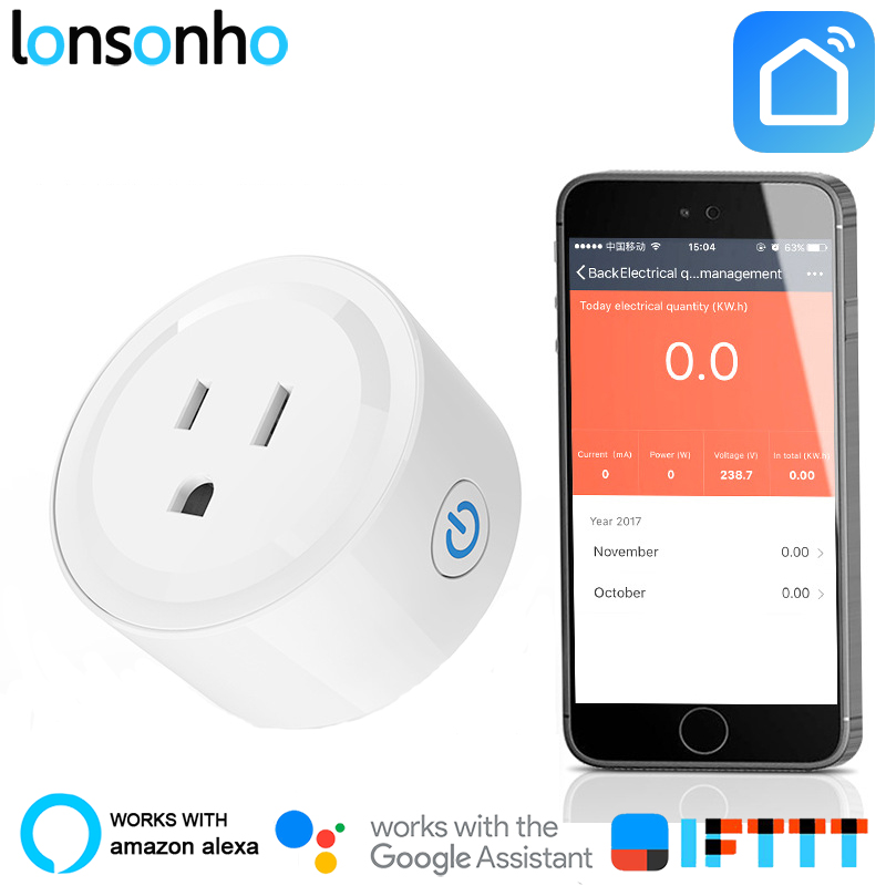 Lonsonho WiFi Smart Plug Smart Plug US Mini Outlet Energy Monitoring No Hub Required Works with Alexa Google Assistant IFTTT