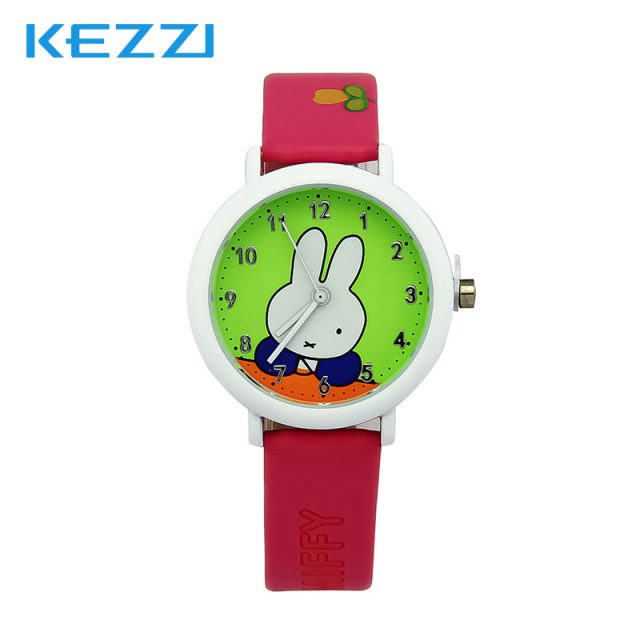 Lovely Watch New Year Gifts for Children's Wrist Watch Analog Quartz Watches Kids Watches Rabbit Cartoon Yellow Leather Band