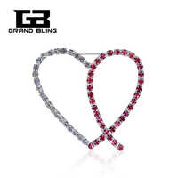Grandbling Design Clássico de Handmade Pink Ribbon Rhinestone Coração Broche Pin