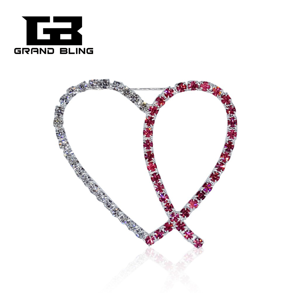 Fancy Design Handmade Rhinestone Pink Ribbon Heart Brooch Pins FREE SHIPPING