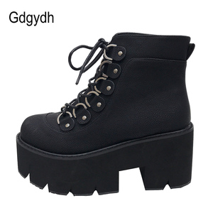 Image 3 - Gdgydh 2020 New Ankle Shoes Women Lacing Motorcycle Boots Square Heels Casual Shoes Autumn Platform Heels Leather Short Boots