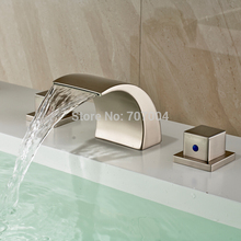 New Arrive Deck Mounted Brushed Nickel Dual Handles Bathroom Basin Faucet Luxury Waterfall Basin Sink Faucet