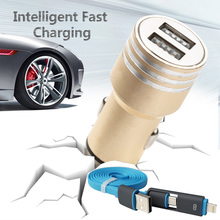 2-1 Data Cable+Safety Hammer Car-Charger For iPhone 6 5S 5C 6S 4S Oneplus Two 2 One Doogee X5 Pro & Other Phone USB Car Charger
