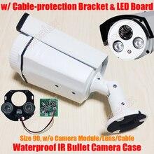 Waterdichte Ir Bullet Camera Case & Array Led Board & Beugel Maat 90 Aluminium Behuizing Zonnescherm Cover IP66 Outdoor behuizing