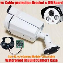 Waterproof IR Bullet Camera Case & Array LED Board & Bracket Size 90 Aluminum Alloy Casing Sunshield Cover IP66 Outdoor Housing