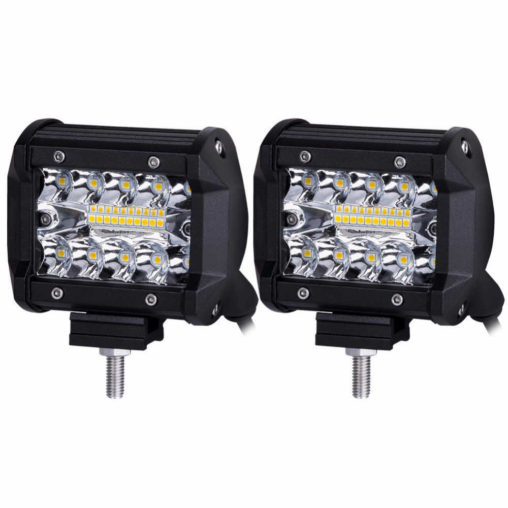 60W 4INCH 20LED Waterproof IP67 Work Light LED Light Bars Spot Flood Beam for Work Driving Offroad Boat Car Tractor Truck KDCW1