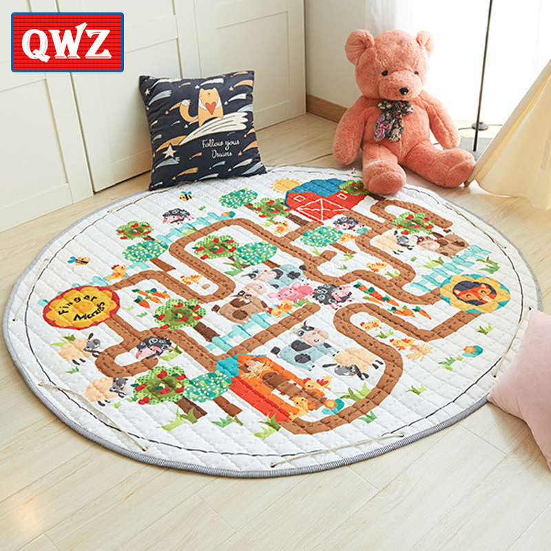 QWZ Kids Carpet Rugs Children Play Mat Baby Crawling Puzzle Mat with Storage Bag Kids Toys Sundries Pouch Cartoon Animal Maze цена