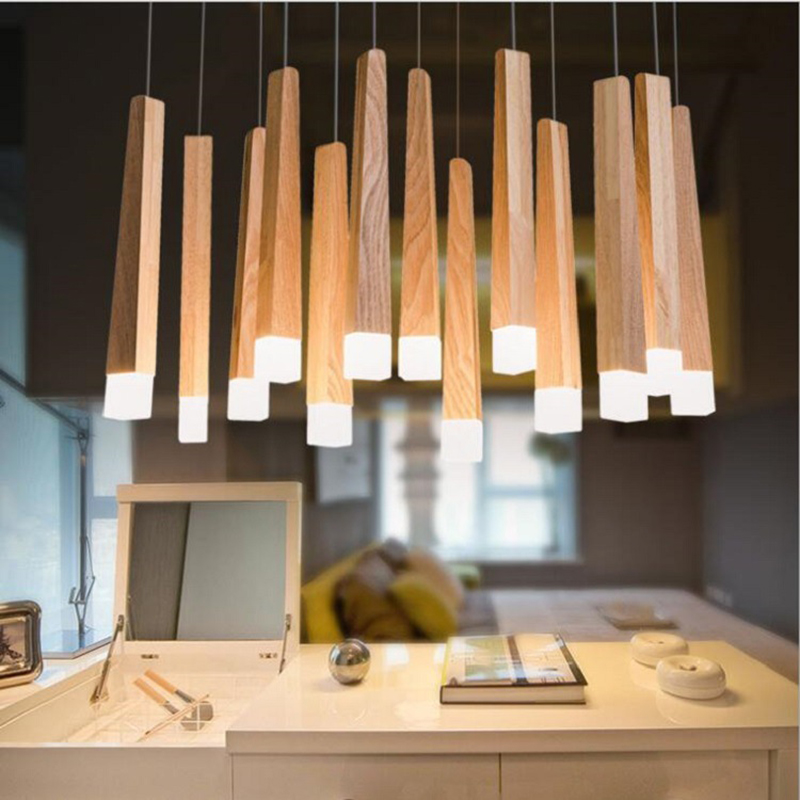 Led wood pendant lights modern suspension lamp Nordic bedroom hanging lamp living room decorative led light fixtures luminaire iwhd glass ball modern pendant lamp fashion iron led hanging light fixtures bedroom living room cafe suspension luminaire lustre