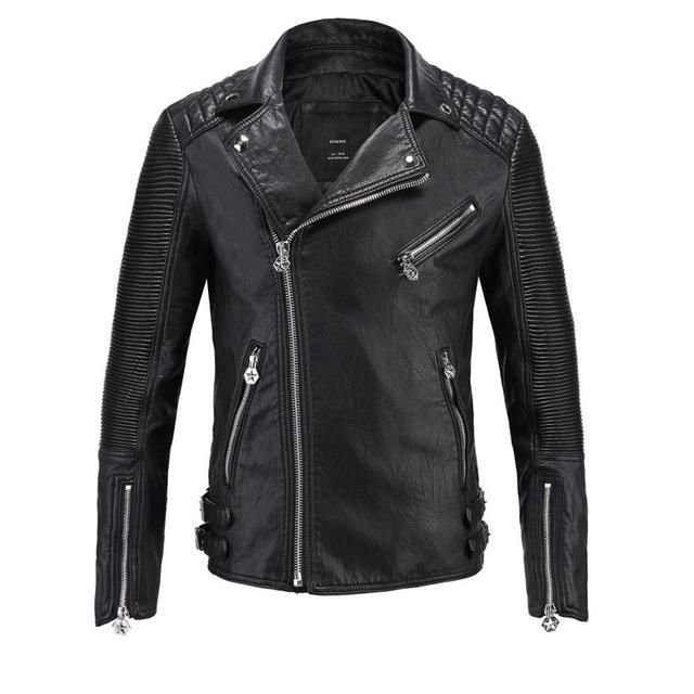 2017 New Men's Fashion  Motorcycle Leather Jacket Rock Design Draped Lapel Biker Jackets Chaqueta Cuero Hombre
