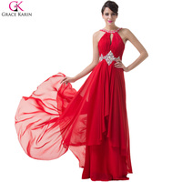 Grace Karin Red Long Evening Dress 2016 New Arrival Women Formal Dresses Rhinestone Evening Gowns Mother
