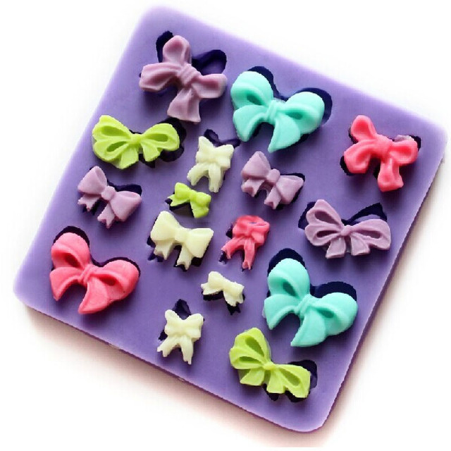 US $3 49 30% OFF|mini bow silicone resin mold, fondant cake tool Fimo clay  tools wholesale F155 cake decoration molds-in Clay Extruders from Home &