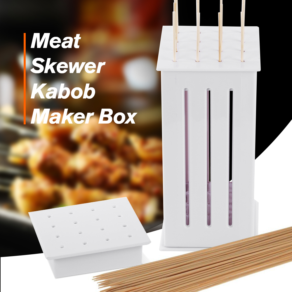 16 Hole Meat Skewer Kabob Maker Box Multi-purpose Meat Grinders Non-toxic Barbecue Kebab Maker BBQ Grill Accessories Tools