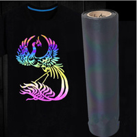 50cm x 300cm Holographic Colorful Heat Transfer Vinyl Iron on Film Chamelon Color 20''x118''