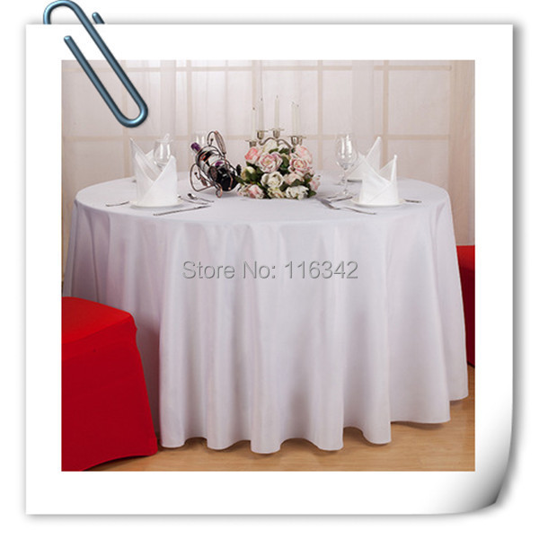 Factory Price! Top Quality 10 Pieces 90 U0027u0027white Polyester Round Table Cloth/