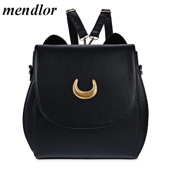 New Sailor Moon Black PU Leather Backpacks School Bags For Teenagers Women Shoulders Rucksack Fashion Casual Travel Bags 2017 new high quality shoulders bag pu leather women backpack casual school bags for teenagers girls travel backpacks