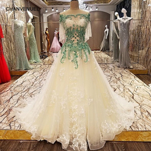 LS3335 luxury robe sirene longue 2017 lace up back off shoulder A line evening champagne and green dresses long 2017 real photos(China)