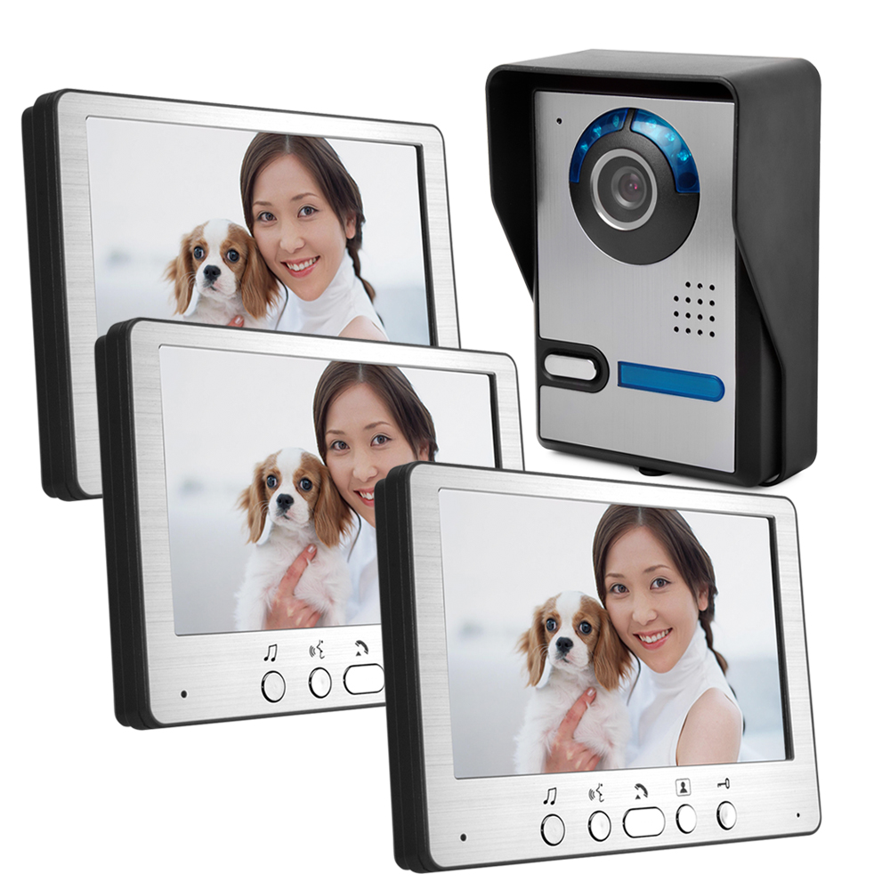 7 Inch IR Night Vision Lens Adjustable Wired Intercom Video Door Phone 7 inch rain proof lens adjustable wired intercom video door phone with two outdoor camera