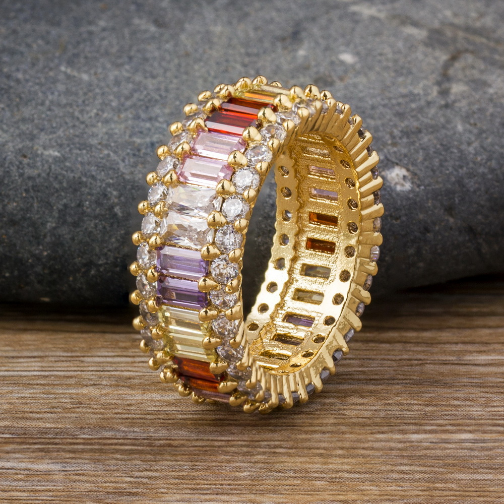 Hot Sale Thin Baguette Rainbow CZ Gold Ring For Women Fashion Engagement Wedding Band Top Quality Charm Jewelry 3