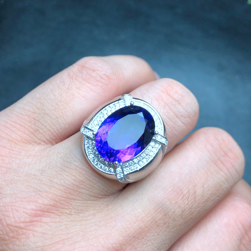European and American style, atmospheric men's ring, openwork style, 925 silver, natural amethyst, atmospheric classic