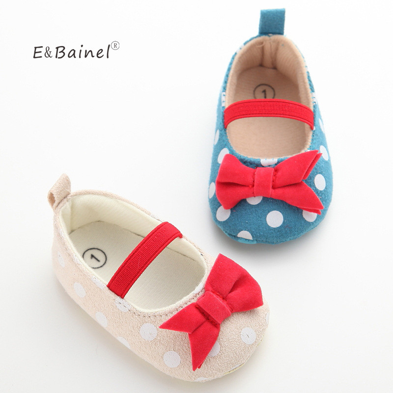 Baby Shoes Baby Girl Soft Sole Shoes Dots Bowknot Toddler Anti-slip Shoes Newborn To First Walkers
