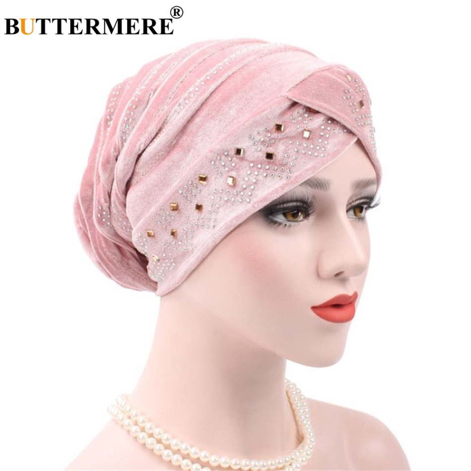 BUTTERMERE Pink Velvet Headscarf Bandana Headwear Chemotherapy Turban Stretch India Pile Heap Hat For Women   Skullies     Beanies