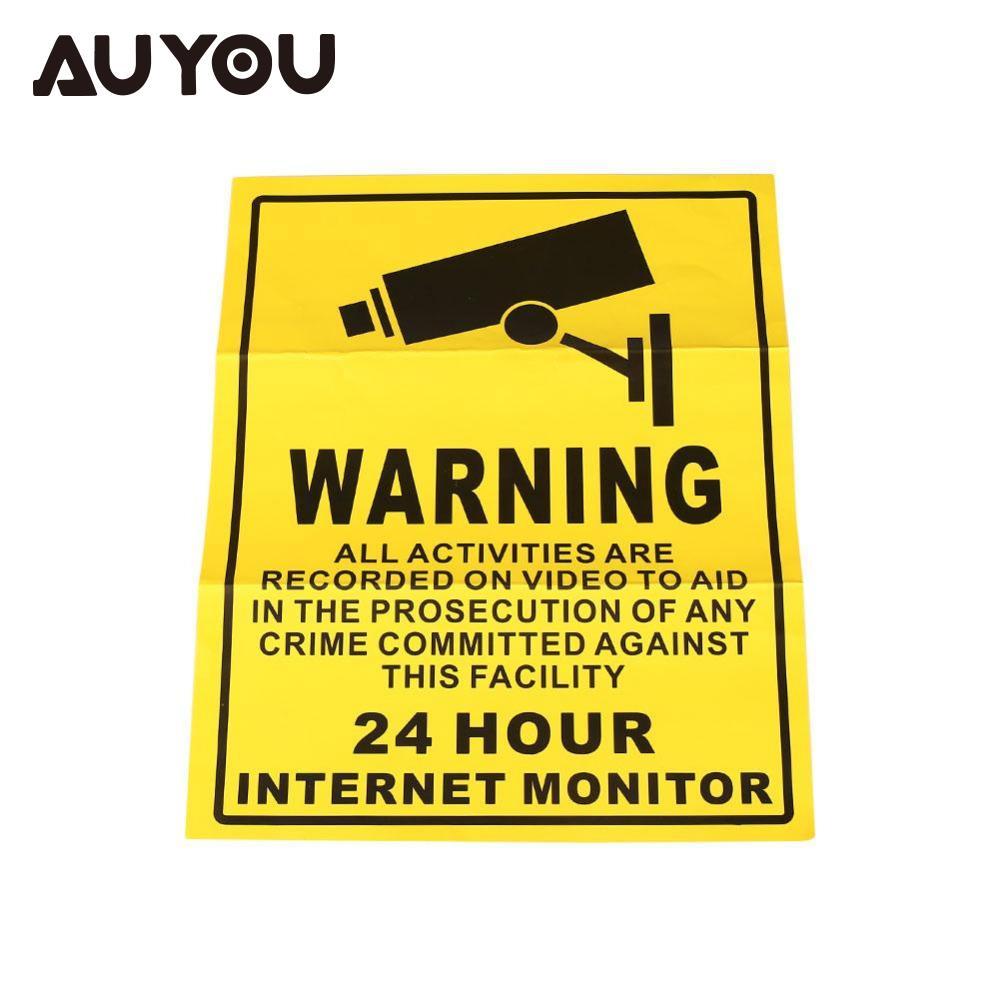AUYOU Security Surveillance Warning Sign 24 Hours Monitor Alert Wall Sticker  WATERPROOF