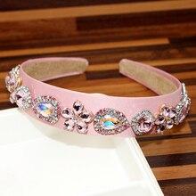 Fashion Pink And AB Crystal Flower Hairbands Round Rhinestone Headband For Women Luxury Hair Accessories