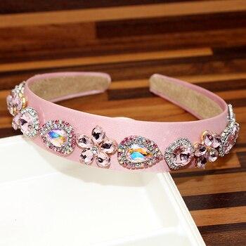 Vinchas de flores de cristal rosa y AB de moda, diadema redonda con diamantes de imitación para mujer, accesorios capilares de lujo