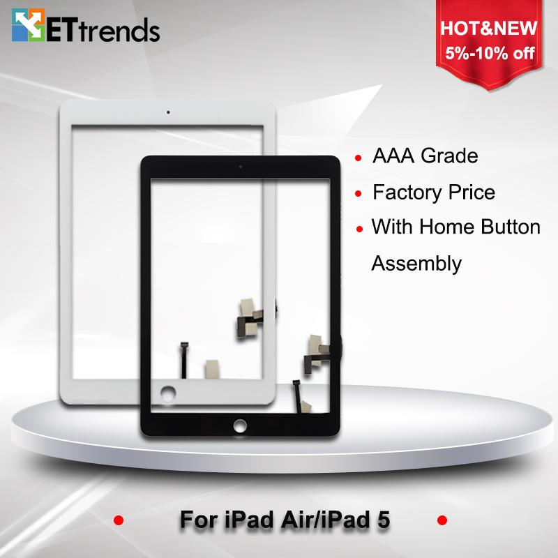 Prix pour 10 PCS/LOT Écran Tactile En Verre Assemblée pour iPad air digitizer Panneau de verre écran Avec Bouton Home & Adhésif Livraison Gratuite par DHL
