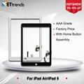 10 pçs/lote toque montagem tela de vidro para ipad air digitador da tela do painel de vidro com botão home & adesivo frete grátis por dhl