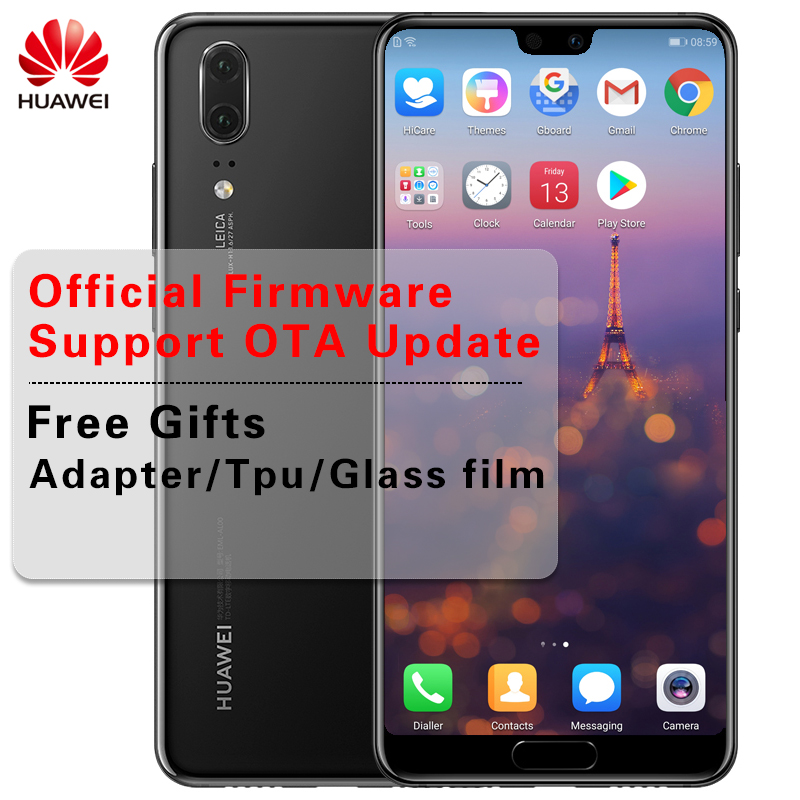 "Voorraad Huawei P20 Smartphone Android 8.1 6G RAM 64G/128G ROM Kirin 970 Gezicht ID 5.8 ""Full View Scherm EMUI 8.1 24MP Front Camera"