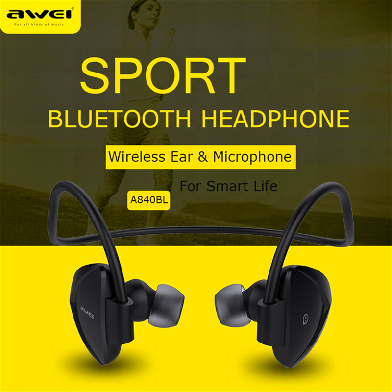 Awei A840BL Headset bluetooth headphone stereo bass wireless bleutooth earphone handsfree Sweat proof for IPhone phone samsung high quality 2016 universal wireless bluetooth headset handsfree earphone for iphone samsung jun22