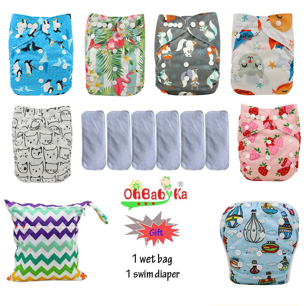 Ohbabyka Baby Diapers Washable Reusable Nappies Covers Cotton Training Pant Cloth Diaper Cartoon Print Baby Nappy