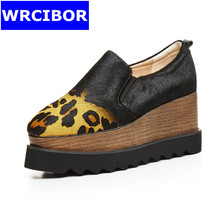 2017 NEW Woman Shoes Black Sexy leopard grain Horsehair Square toe High-heeled shoes Lady comfortable wedges Platform shoes