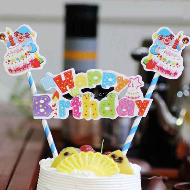 Cute Cartoon Clown Paper Cupcake Wrappers Toppers Flag Wedding Kids