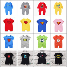 Baby Romper Cartoon Print Solid Color Jumpsuit Infant Onesie