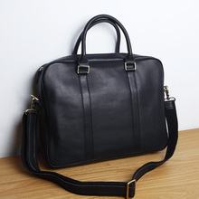 LAN men's leather briefcase brand high quality cow leather business handbag top laptop bag