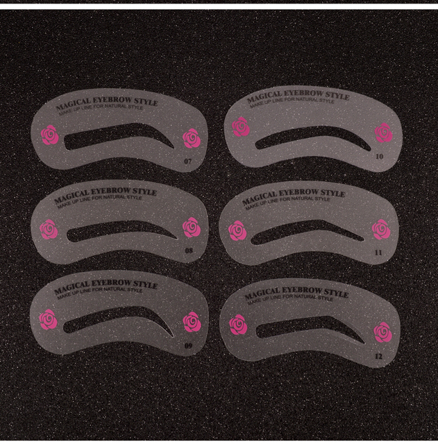 24 Pcs Pro Reusable Eyebrow Stencil Set Eye Brow DIY Drawing Guide Styling Shaping Grooming Template Card Easy Makeup Beauty Kit 2