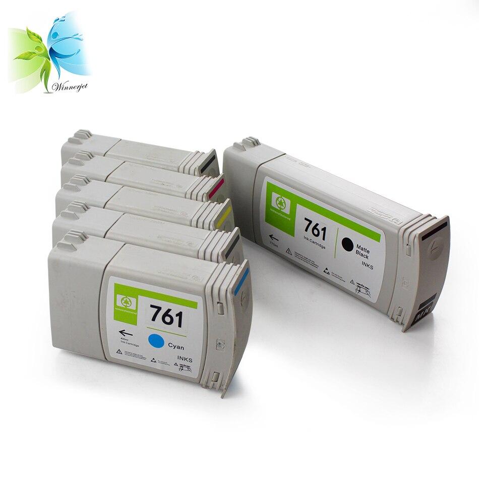 WINNERJET 6 видов цветов для HP 761 Восстановленный чернильный картридж с пигментными чернилами и чипом для принтера HP Designjet T7100