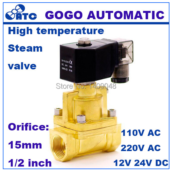 "GOGO 25bar Brass high temperature 2 way water steam solenoid valve for hot water G1/2"" DC12V Orifice 15mm normal close PZ-15"