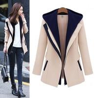 New Autumn Winter Women Coats Fashion Vestidos False Two Piece Cute Contrast Color Silm Woolen Blends Coat For Women Outerwear
