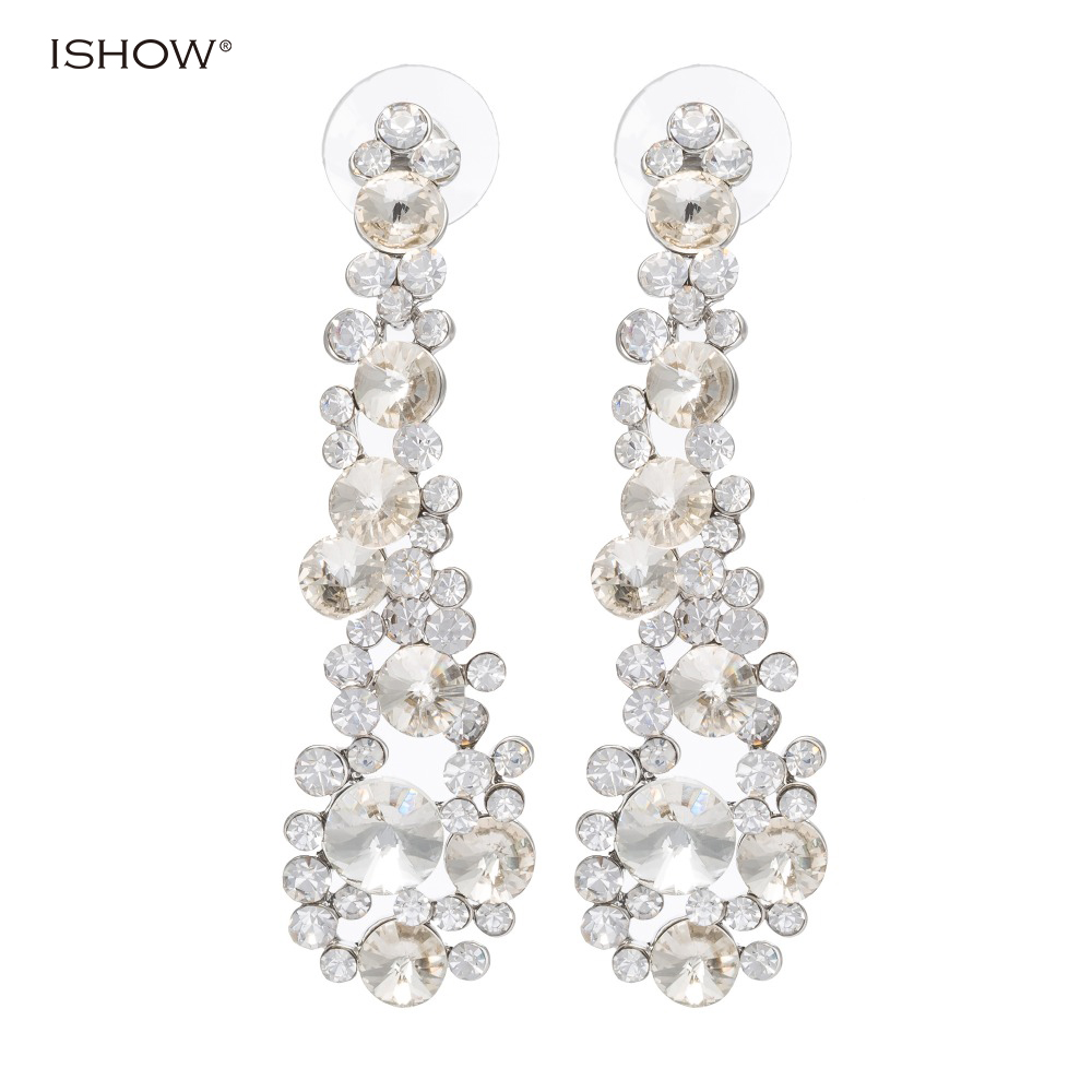 ISHOW Brand Wholesale Fashion Luxury Wedding Earrings White K Plated Shinning Crystal Br ...