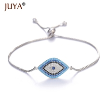 Juya 2019 Luxury Brand Cubic Zirconia Rhinestone Lucky Blue Turkish Eye Evil Bracelet Bangle For Women Femme Amulet Jewelry