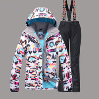 Women Gsou Snow Brand Ski Jacket Pant Breathable Super Warm Skiing Suit Snowboard Coat Trouser Sport