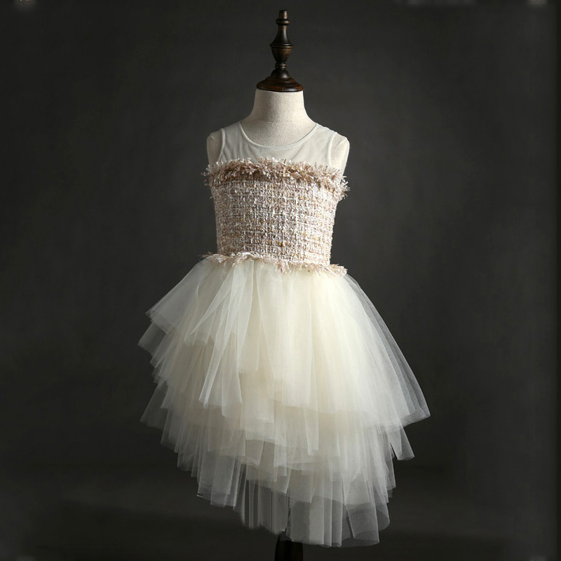 2018 Baby Girls Clothing Lace Ball Gown Kids Dresses For Girls 2-7 Years Children's Princess & Wedding Party Luxury Dress DR-73 sleeveless children baby girls kids clothing summer princess party flower bow gown full dresses 2 4 6 7 8 9 10 years