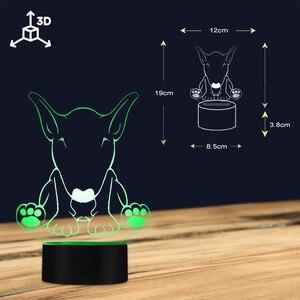 Image 4 - لطيف الكلب الراعي شكل تصميم تخصيص اسم 3D الوهم البصري ليلة ضوء مصباح LED متوهج البصرية مصباح الحيوانات الأليفة جرو عاشق هدية