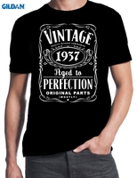 GILDAN 80th Birthday Vintage Aged To Perfection 1937 80 Years Old Gift Present T Shirt Cool