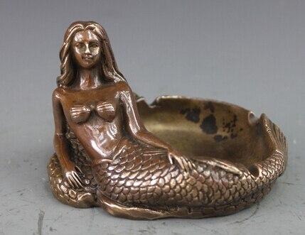 3484 Chinese Bronze Kupfer Statue Carving Meerjungfrau Aschenbecher Skulptur