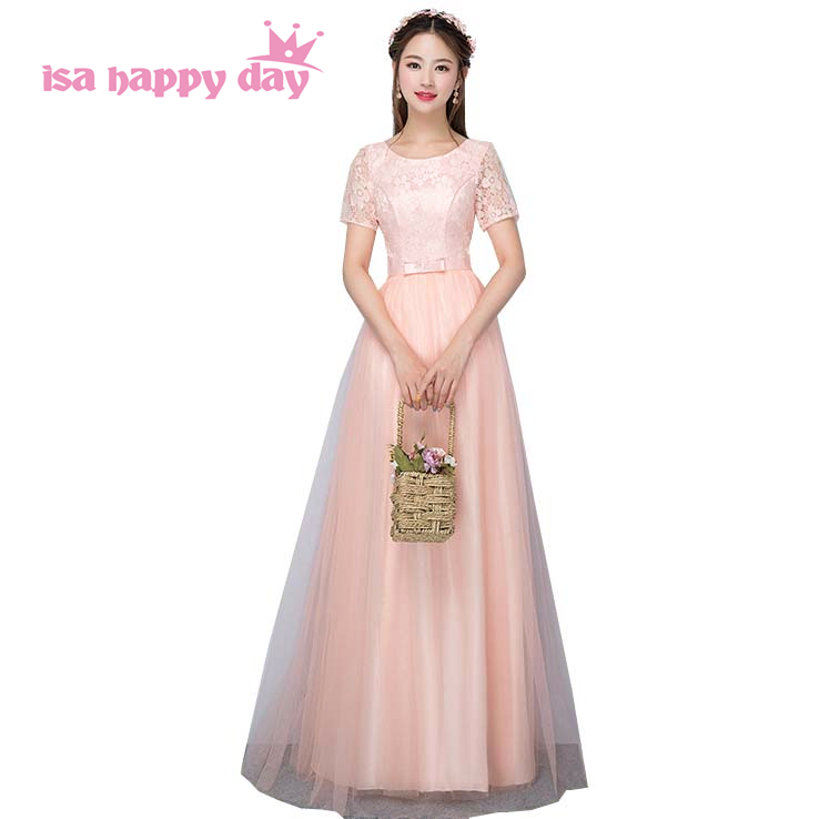 girls long peplum tops lace tulle modest clothing   dress     bridesmaid     dresses   formal ball gowns to floor with sleeves H4173