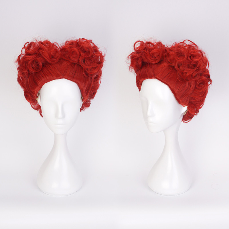 Alice in Wonderland The Red Queen Wig Queen of Hearts Cosplay Costume Red Hair Women Short Heat Resistant Synthetic Curly Hair